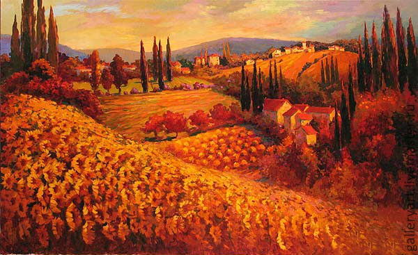 The painting 'Field of sunflowers', Pictures, St. Petersburg,  Фото №1