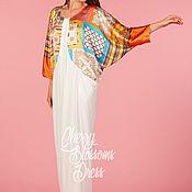 Одежда ручной работы. Ярмарка Мастеров - ручная работа Тускло-белое элегантное коктельное макси платье абайя кафтан с рукавом. Handmade.