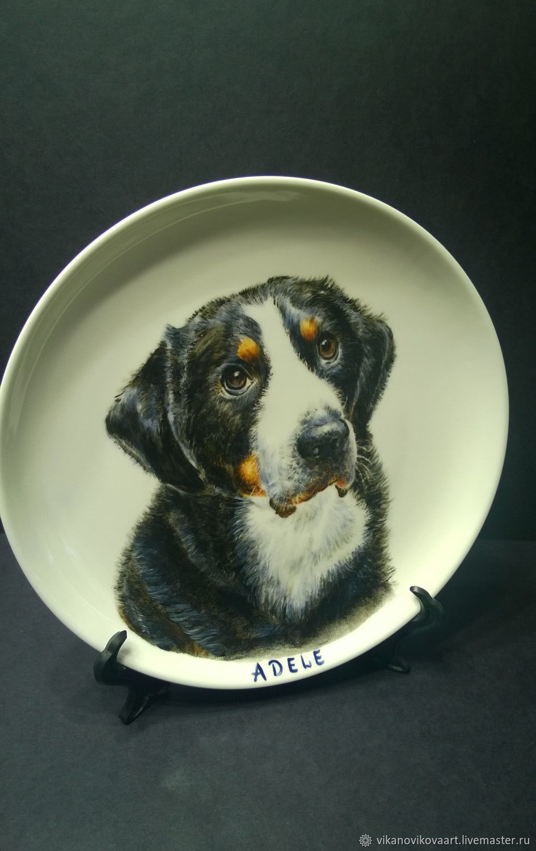 Роспись фарфора. Тарелка декоративная  с портретом вашей собаки, Тарелки, Москва,  Фото №1
