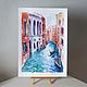 Город ручной работы. Лазурная Венеция. K&ART. Ярмарка Мастеров. Абрикосовый, artkatu, гостиная, акварель