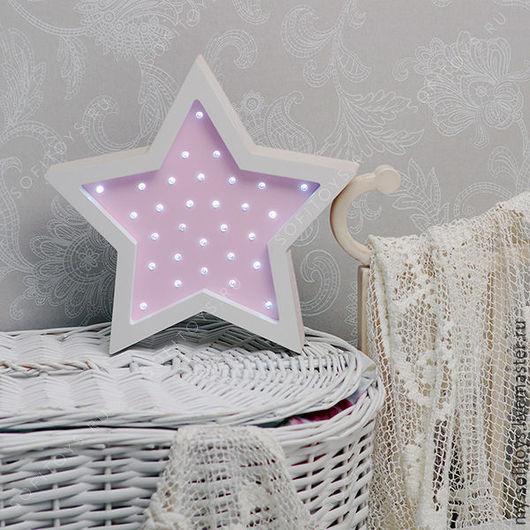 Ночник Звезда в розовом цвете