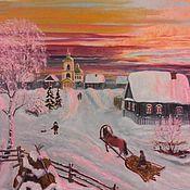 """Картины и панно ручной работы. Ярмарка Мастеров - ручная работа Картина """"Морозный вечер в деревне"""". Handmade."""