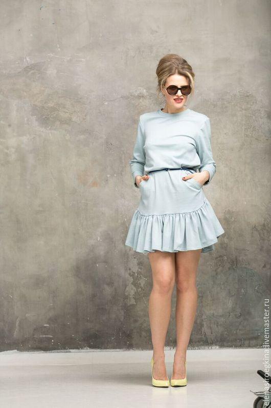 Платья ручной работы. Ярмарка Мастеров - ручная работа. Купить Платье с воланами голубое. Handmade. Голубой, платье-трансформер, хлопок