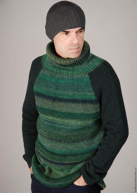 Для мужчин, ручной работы. Ярмарка Мастеров - ручная работа. Купить Мужской свитер Загородный. Handmade. Тёмно-зелёный, кашемир