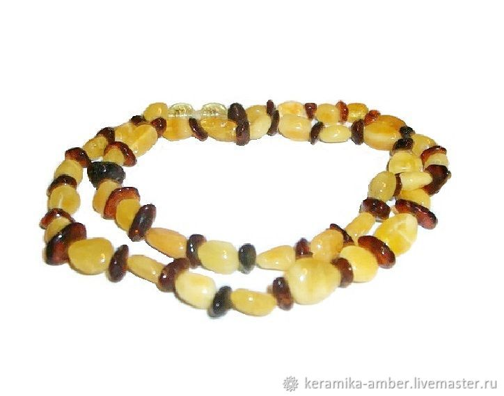Amber beads white cognac color natural stone decoration, Necklace, Kaliningrad,  Фото №1