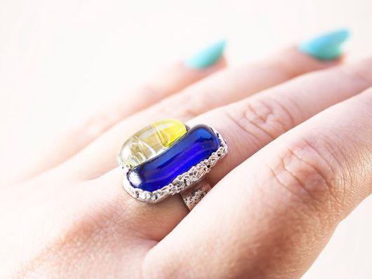 Кольца ручной работы. Ярмарка Мастеров - ручная работа. Купить Серебряное кольцо ЖИВЫЕ КЛЕТКИ. Handmade. Стекло, авторское стекло