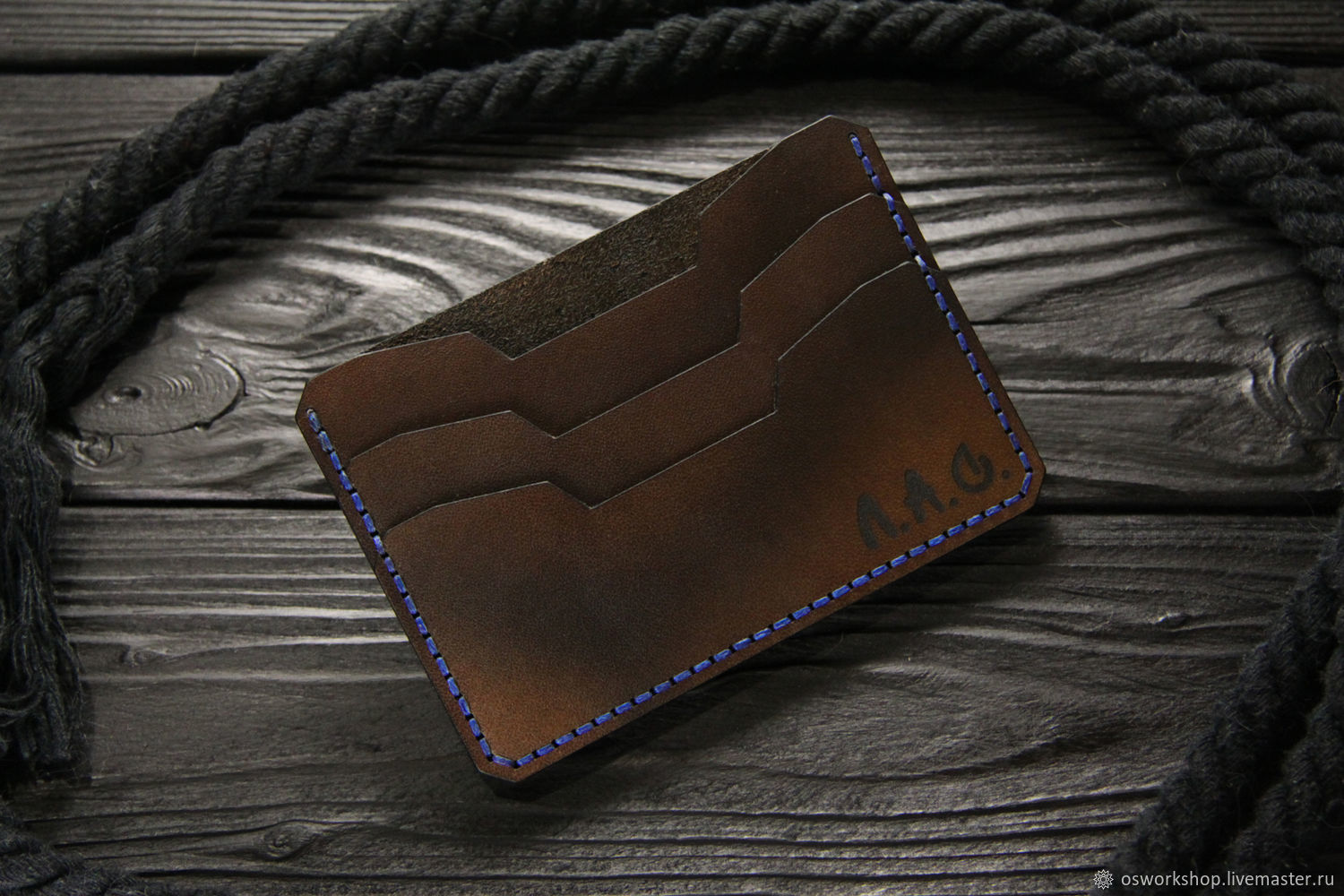 Compact men's leather wallet. Thin leather cardholder, Cardholder, Moscow,  Фото №1