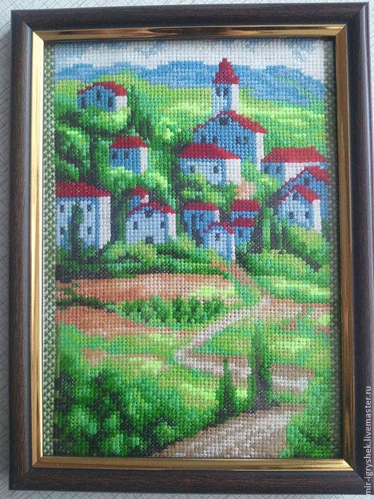 Пейзаж ручной работы. Ярмарка Мастеров - ручная работа. Купить Сельский пейзаж. Handmade. Вышивка крестом, вышивка, ручная работа