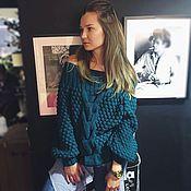 Одежда handmade. Livemaster - original item Petrol sweater with dropped shoulders. Handmade.
