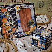 Сувениры и подарки manualidades. Livemaster - hecho a mano Marco de fotos y el estuche de estilo marino de la isla del paraíso. Handmade.