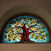 """Для дома и интерьера ручной работы. Ярмарка Мастеров - ручная работа Витраж """"Дуб"""" имитация окна. Handmade."""