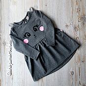 Платья ручной работы. Ярмарка Мастеров - ручная работа Платье для девочки, Серый зайчик, трикотаж. Handmade.