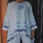 """Одежда ручной работы. Ярмарка Мастеров - ручная работа Туника блузка """"Голубые косы"""" из льна с ручной верховой набойкой.. Handmade."""