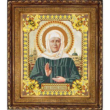 """Картины и панно ручной работы. Ярмарка Мастеров - ручная работа Икона """"Св. Матрона"""" вышита бисером. Handmade."""