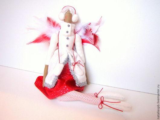 Куклы Тильды ручной работы. Ярмарка Мастеров - ручная работа. Купить Тильда.Зимний ангел.. Handmade. Ярко-красный