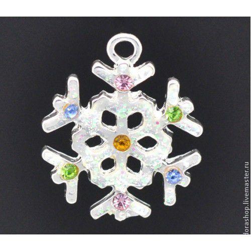 Снежинка праздничная 22х19 мм, подвеска металлическая с глиттером и цветной эмалью серебряная, серия Новый Год - 80.00