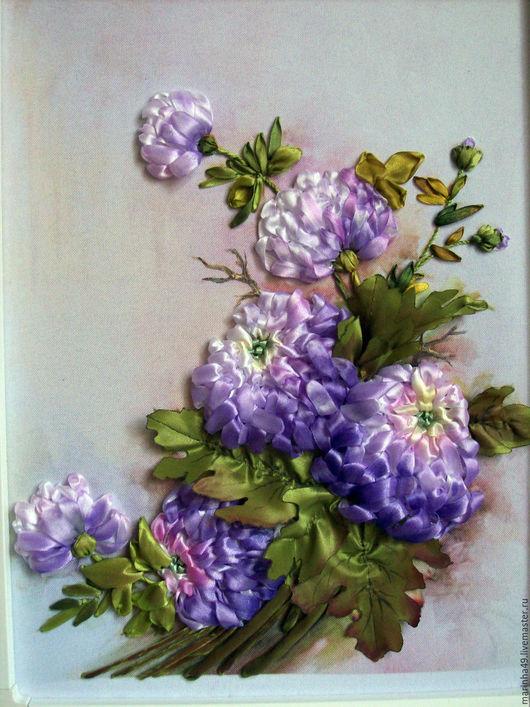 Картины цветов ручной работы. Ярмарка Мастеров - ручная работа. Купить картина вышитая лентами Хризантемы. Handmade. Фиолетовый