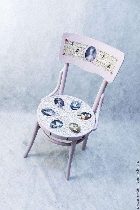 """Мебель ручной работы. Ярмарка Мастеров - ручная работа. Купить Венский стул """"Музыка"""". Handmade. Бледно-розовый, розы, винтаж"""
