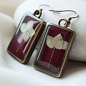 Украшения handmade. Livemaster - original item Burgundy rectangular earrings with hydrangea.Earrings with real flowers. Handmade.