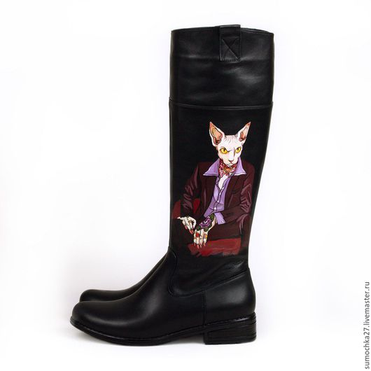 Обувь ручной работы. Ярмарка Мастеров - ручная работа. Купить Сапоги женские. Handmade. Черный, сапоги демисезонные, кожа, удобные