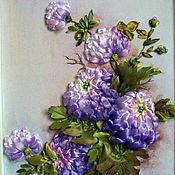 Картины и панно ручной работы. Ярмарка Мастеров - ручная работа картина вышитая лентами Хризантемы. Handmade.