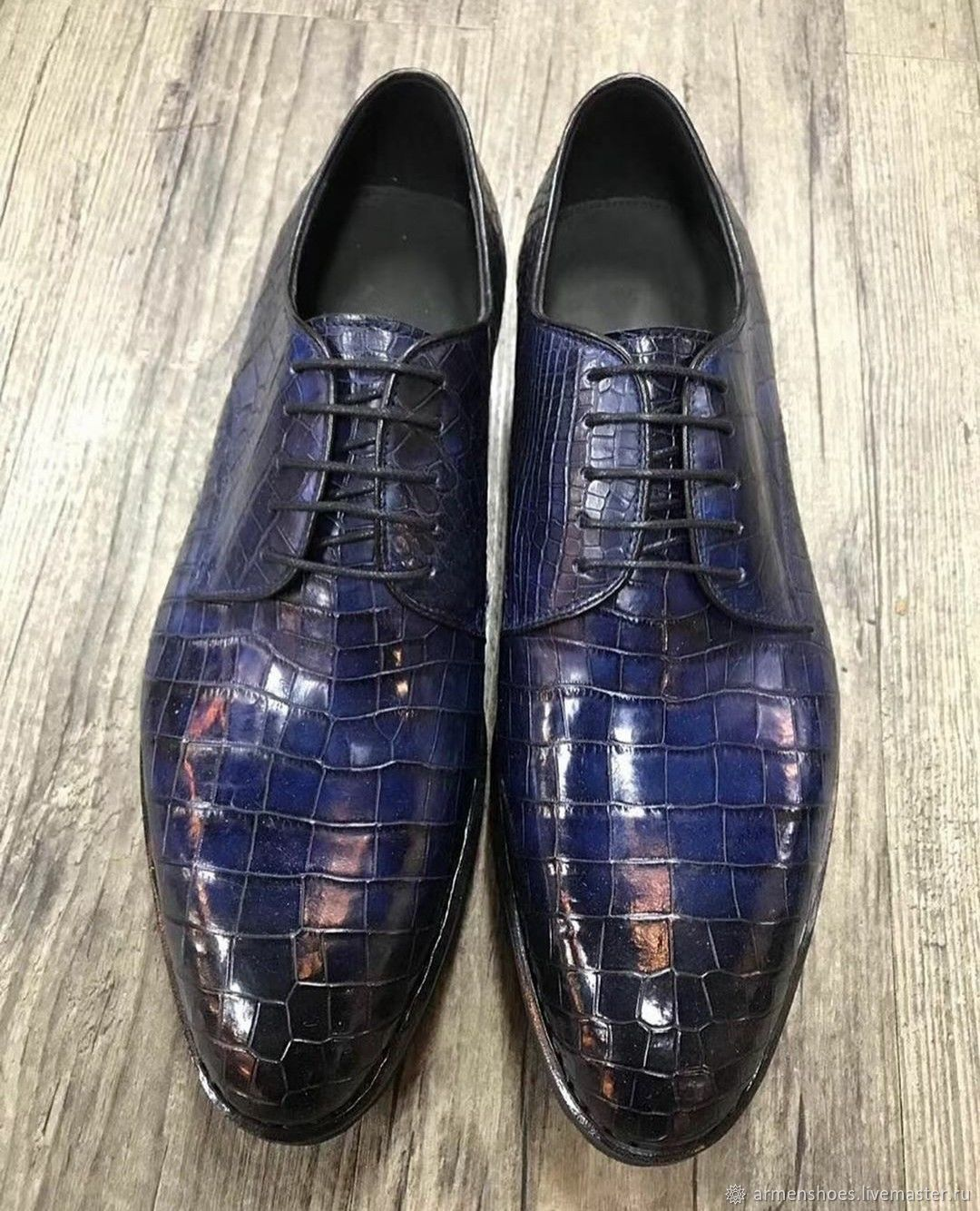 Classic dress shoes crocodile leather in dark blue color, Sneakers, Tosno,  Фото №1