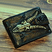Сумки и аксессуары handmade. Livemaster - original item Wallets: Cool men`s wallet. The skull of a goat. Handmade.