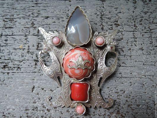Броши ручной работы. Ярмарка Мастеров - ручная работа. Купить Брошь из серебра с яшмой, кораллом, агатом и цирконами.. Handmade. Комбинированный