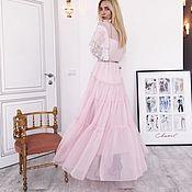 Одежда ручной работы. Ярмарка Мастеров - ручная работа Двойное платье  нежно-розовое тонкое воздушное. Handmade.