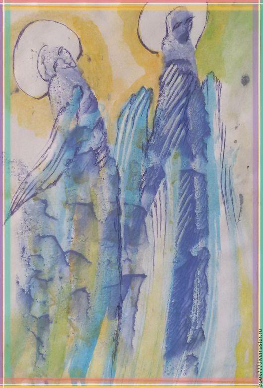 Абстракция ручной работы. Ярмарка Мастеров - ручная работа. Купить Небо надо мною ( Ангелы ). Handmade. Голубой