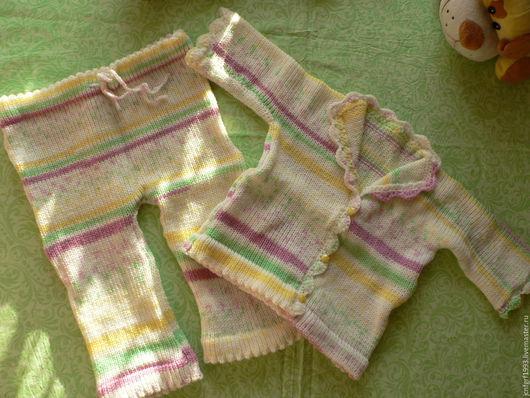 Для новорожденных, ручной работы. Ярмарка Мастеров - ручная работа. Купить Вязаный костюмчик для девочки. Handmade. Комбинированный, комплект для малыша