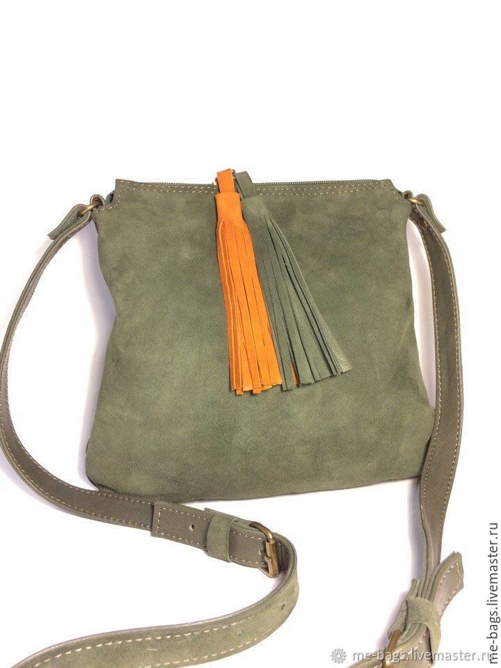 Malta Olive.  Little olive handbag made of suede and leather, Classic Bag, St. Petersburg,  Фото №1