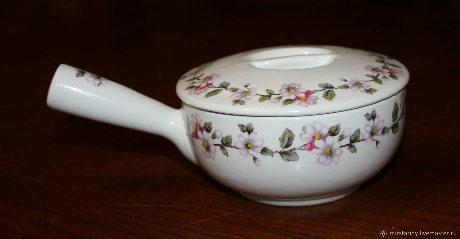 Vintage gravy boat with handle 'Spring flowers', Apilco, France, Vintage kitchen utensils, Moscow,  Фото №1