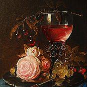Картины и панно ручной работы. Ярмарка Мастеров - ручная работа Розы и бокал вина. Handmade.