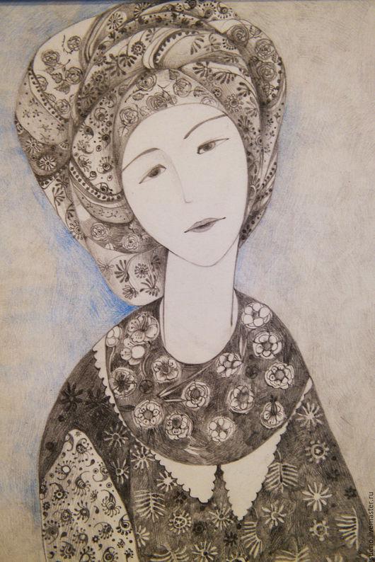 Фантазийные сюжеты ручной работы. Ярмарка Мастеров - ручная работа. Купить Портрет в восточном стиле. Handmade. Темно-серый, портрет