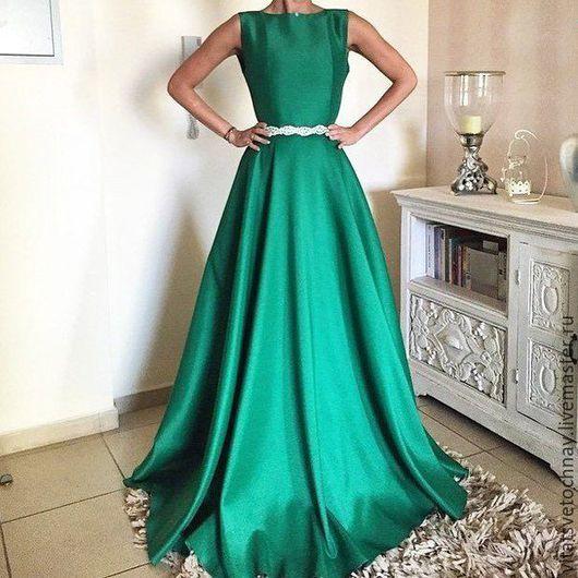 Платья ручной работы. Ярмарка Мастеров - ручная работа. Купить Шелковое Вечернее платье. Handmade. Зеленый, свадебное платье длинное