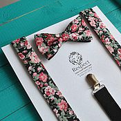 Аксессуары handmade. Livemaster - original item Black tie flowers black suspenders Watercolor Set. Handmade.