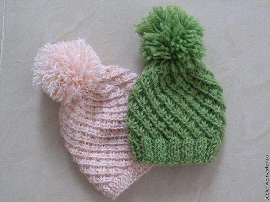 Для новорожденных, ручной работы. Ярмарка Мастеров - ручная работа. Купить Вязаные шапочки для малышей. Handmade. Зеленый, для фотосессий, для детей