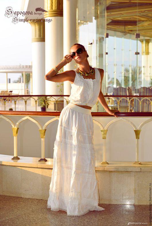 Алина Сапогова. Авторская юбка бохо ` Avenue `. Длинная белая юбка  с кружевом,  длинная юбка бохо на лето, летняя ажурная белая юбка  из хлопка.  Фотограф Александр Сапогов