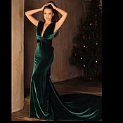 Одежда handmade. Livemaster - original item With train emerald dress-transformer velvet. Handmade.
