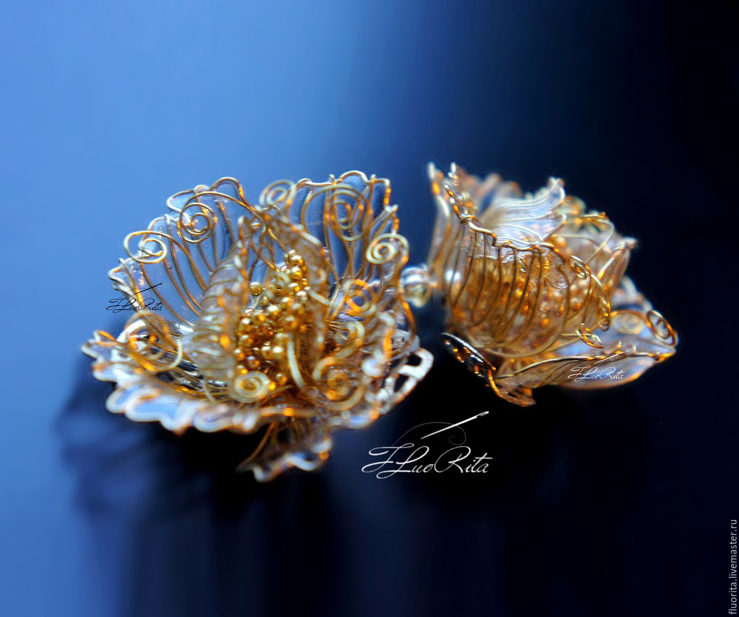 Earrings handmade. Livemaster - handmade. Buy Earrings unusual gift, jewellery, gold lace.Wire wrap, gold, floral, prom
