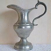 28 см. Старинный оловянный кувшин для вина, воды. Клеймо.