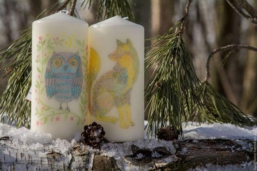 """Свечи ручной работы. Ярмарка Мастеров - ручная работа. Купить Свечи """"Волшебный лес"""". Handmade. Белый, интерьерные свечи, зайчик"""
