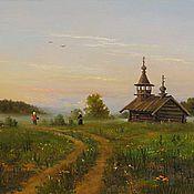 """Картины и панно ручной работы. Ярмарка Мастеров - ручная работа Картина """"Старенькая часовня"""". Handmade."""