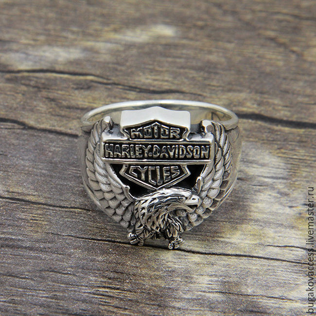 Men's Harley Davidson ring of silver 925 with an eagle, Rings, Moscow,  Фото №1