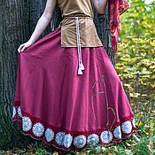 """Одежда ручной работы. Ярмарка Мастеров - ручная работа Длинная льняная юбка  с кружевом  """"Гранат """". Handmade."""