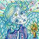 """Фантазийные сюжеты ручной работы. Ярмарка Мастеров - ручная работа. Купить Картина """"Ангел, несущий свет"""", картина с ангелом, голубая. Handmade."""