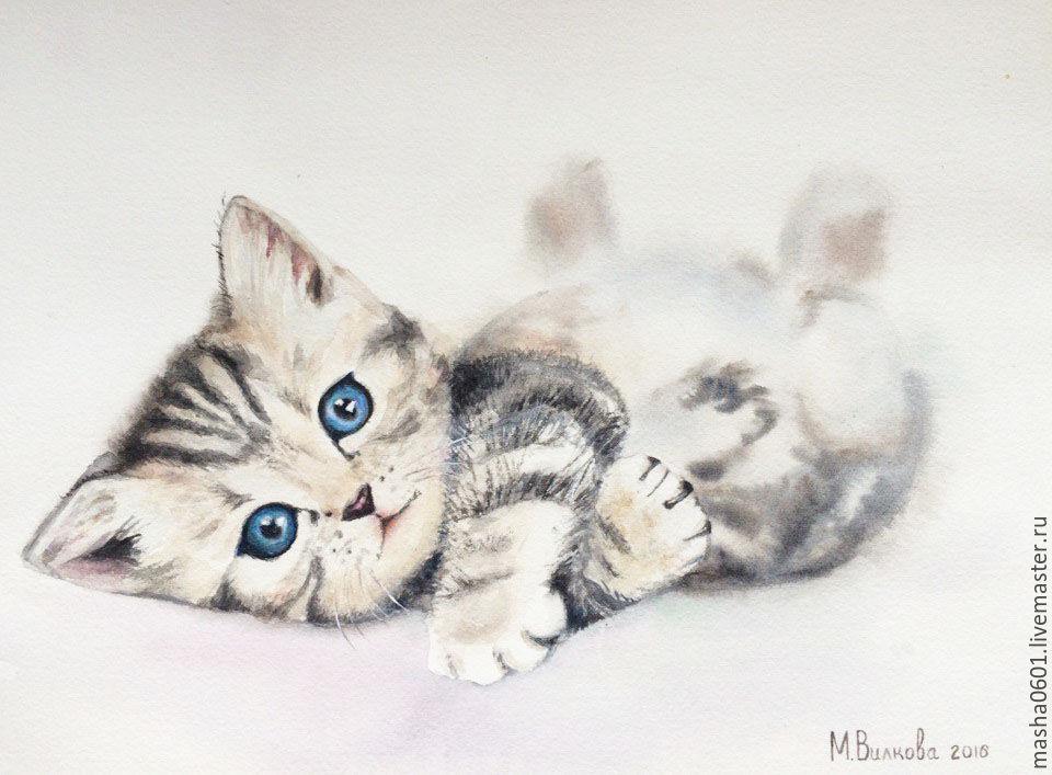 Акварельный котенок, Картины, Москва, Фото №1