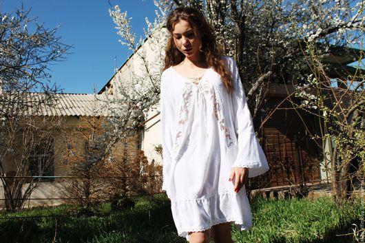 """Платья ручной работы. Ярмарка Мастеров - ручная работа. Купить Бохо платье-туника """"Angel"""". Handmade. Белый, бохо шик"""