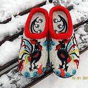 """Обувь ручной работы. Ярмарка Мастеров - ручная работа тапочки """"Городецкие мотивы"""". Handmade."""